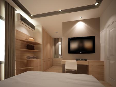 3D rendering di interni di camera da letto