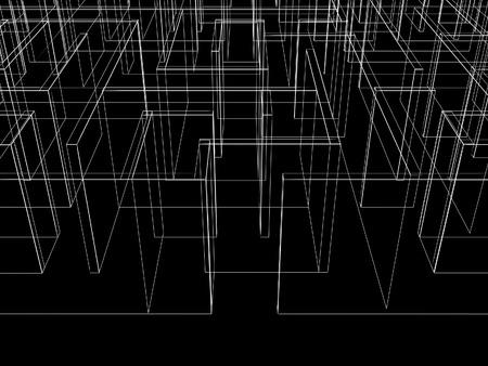 endless maze 3d illustrationwire frame