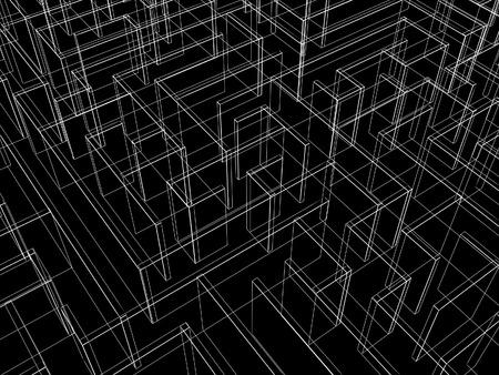 endless: endless maze 3d illustrationwire frame