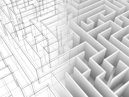 xwhite: endless maze 3d illustrationwire frame