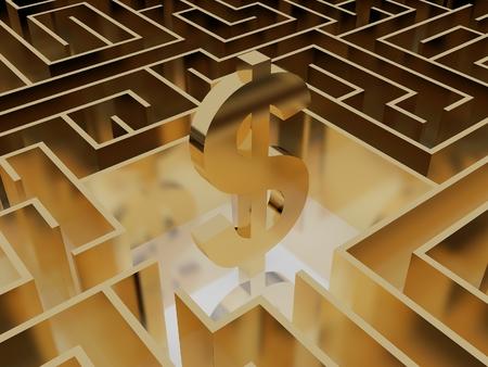 signo pesos: signo de dólar de oro en medio de un laberinto misterioso Foto de archivo
