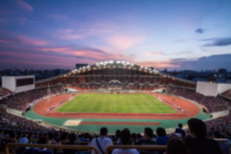 futbol soccer: defocused background of  soccer or football stadium at twilightThailand