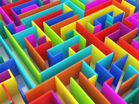 colorful endless maze 3d illustration Stock Photo