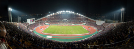football stadium: defocused background of soccer or football stadium at twilight