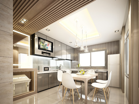 3d design of interior kitchen3d render
