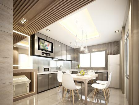 3D-ontwerp van het interieur kitchen3d maken Stockfoto