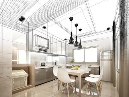 boceto: dise�o resumen boceto de cocina interior