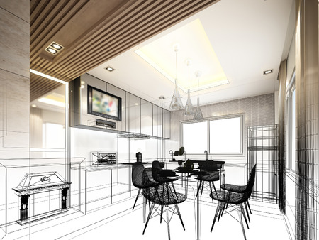 interior design: abstract sketch design of interior kitchen