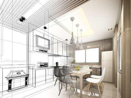 home interior: abstract sketch design of interior kitchen