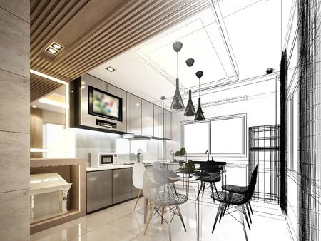 抽象的なスケッチ デザインのインター キッチン 写真素材