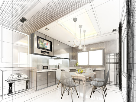 modern furniture: abstract sketch design of interior kitchen