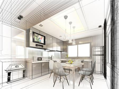 Abstrakte Skizze Gestaltung von Innen Küche Standard-Bild - 40904822