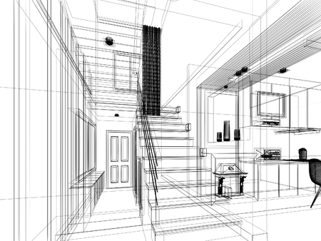 disegno schizzo di sala scala telaio 3dwire render