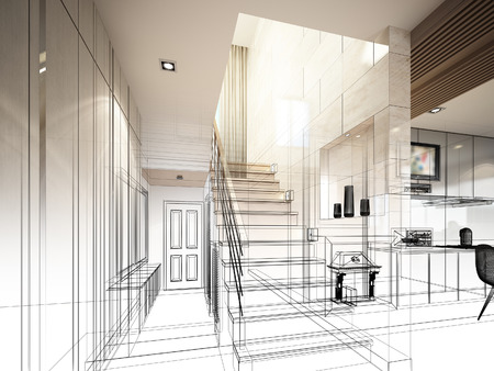 sketch design of stair hall 3dwire frame render