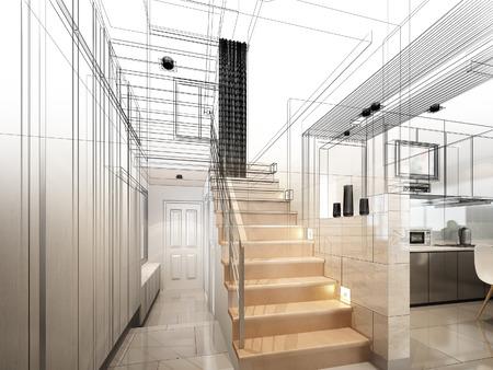 sketch design of stair hall 3dwire frame render