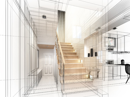 modern house: sketch design of stair hall 3dwire frame render