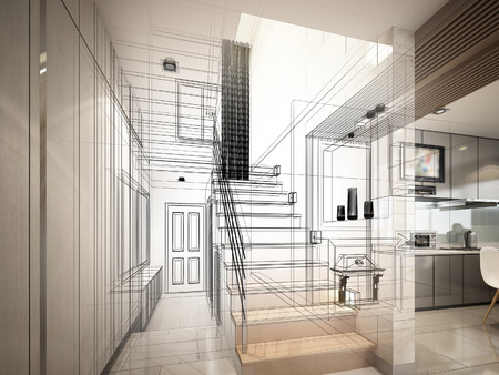階段ホール, 3 dwire フレーム レンダリングのスケッチ デザイン 写真素材