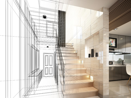 idea comfortable: sketch design of stair hall 3dwire frame render