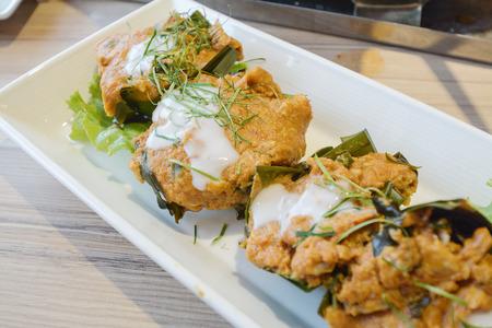 plato de pescado: Pescado al vapor con pasta de curry en el plato