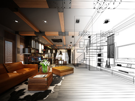 sketch design of living 3dwire frame render
