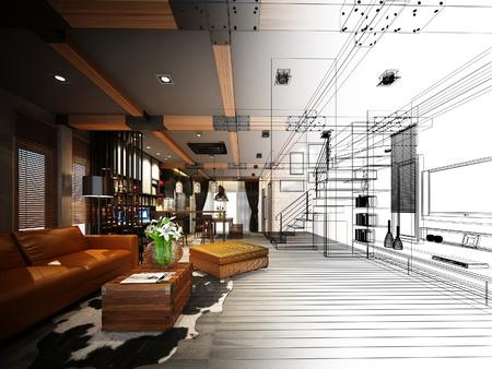 sketch design of living 3dwire frame render