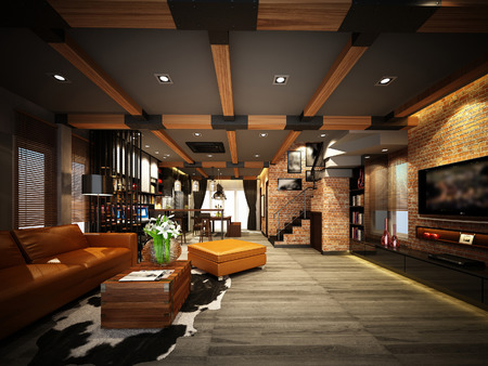 3d render of interior  living room Stock fotó