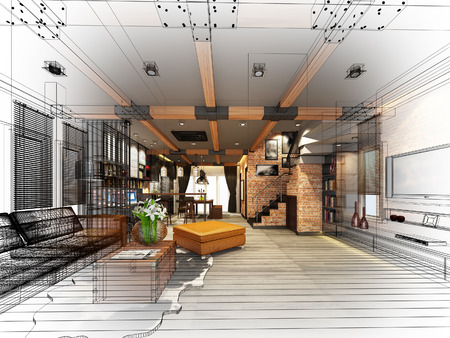 architectural: sketch design of living 3dwire frame render