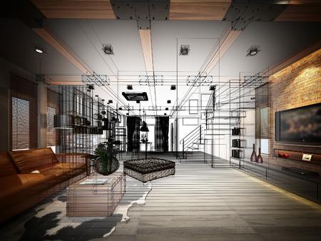 arquitecto: diseño del bosquejo de vivir marco 3dwire render Foto de archivo