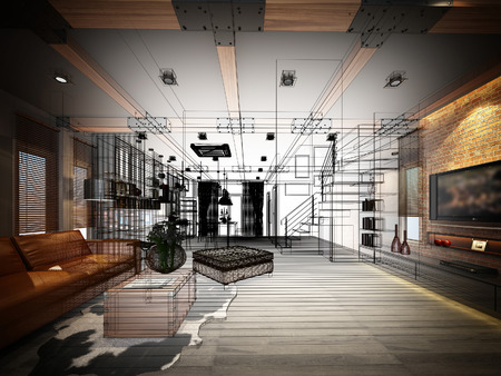 interior design: sketch design of living 3dwire frame render