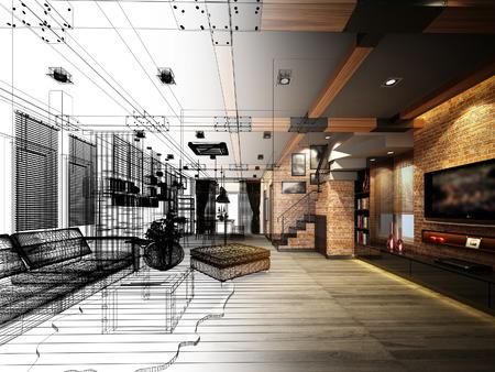 architect: diseño del bosquejo de vivir marco 3dwire render Foto de archivo