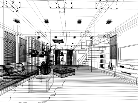 architecture drawing: sketch design of living 3dwire frame render