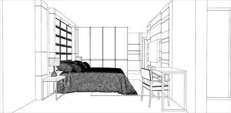 bedroom design: sketch design of bedroom interior vector
