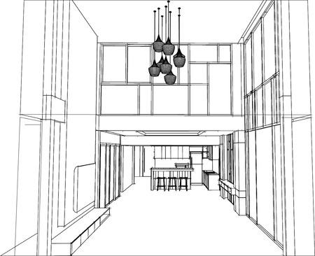 living room design: sketch design of living room interior vector