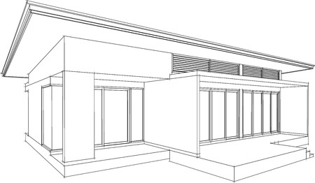 render residence: Abstract 3D render of house wireframe  Vector illustration Illustration
