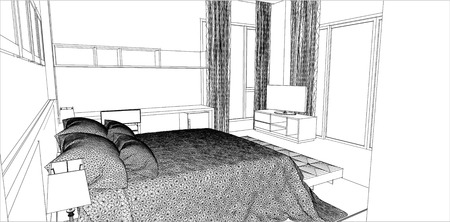 bed room: sketch design of bedroom interior vector