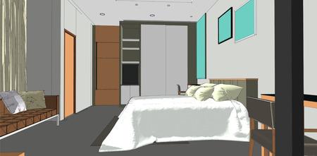 interior bedroom: sketch design of bedroom interior vector