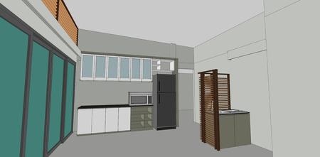 architectural studies: sketch design of kitchen interior vector