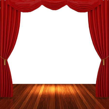 archiitecture: Stage with red curtains and spotlight.