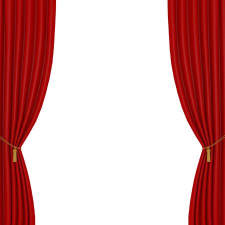 cortinas rojas en un fondo blanco