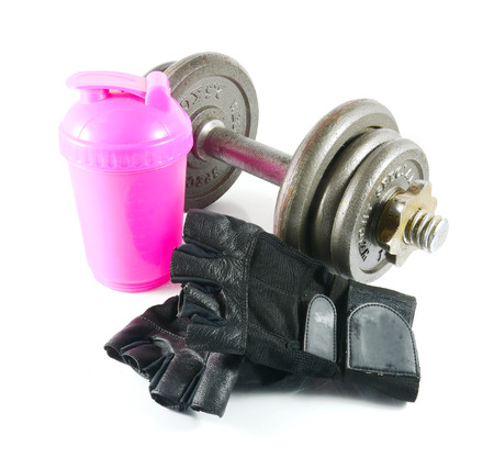weightlifting gloves: dumbbells with workout gloves and water bottle  isolated on white background. Stock Photo