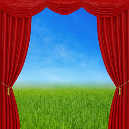 cortinas rojas: cortinas rojas en fondo de la naturaleza Foto de archivo