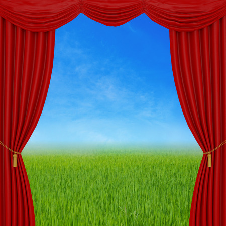 red curtains: red curtains on nature background