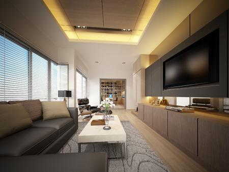 3D rendering di soggiorno