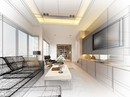 interior design living room: sketch design of living ,3dwire frame render
