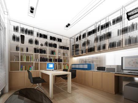 architectural studies: sketch design of study room ,3dwire frame render