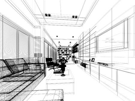 生活, 3 dwire フレーム レンダリングのスケッチ デザイン 写真素材
