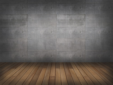 grunge wood: concrete wall with wood floor,3d Stock Photo