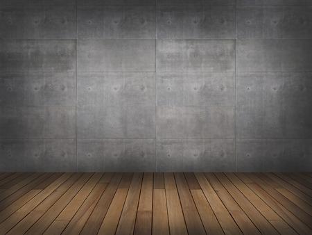 habitacion desordenada: muro de hormigón con suelo de madera, 3d