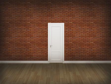 wood floor: door on concrete wall with wood floor,3d