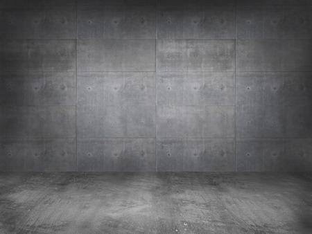 hormigon: muro de hormigón con piso de concreto, 3d